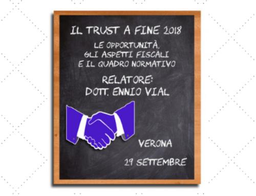 TRUST A FINE 2018: OPPORTUNITA', ASPETTI FISCALI E NORMATIVA